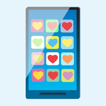 Смартфон с разноцветными сердечками на экране