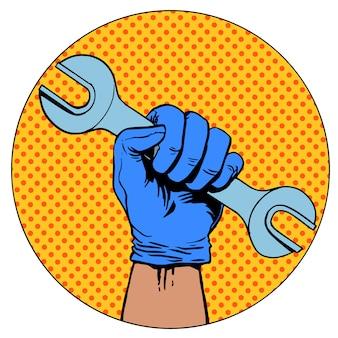 Знак ремонта рука держит символ пиктограмма гаечный ключ