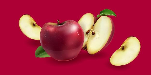 背景に赤いリンゴ