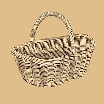 Винтажная корзина в стиле ксилография