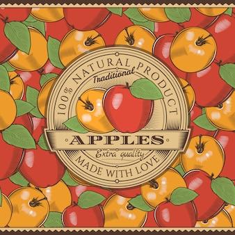 Винтажное красное яблоко этикетка