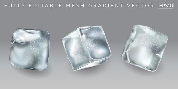 さまざまな飲み物を冷やす正方形の角氷。