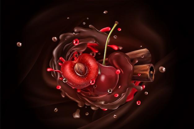 Вишневые ягоды и палочки корицы на фоне шоколада.