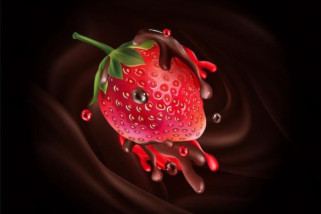 チョコレートとジュースのしぶきのイチゴ。