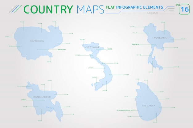 カンボジア、タイ、ベトナム、バングラデシュ、スリランカのベクトルマップ