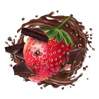 イチゴとチョコレートのかけらとチョコレートのスプラッシュ。