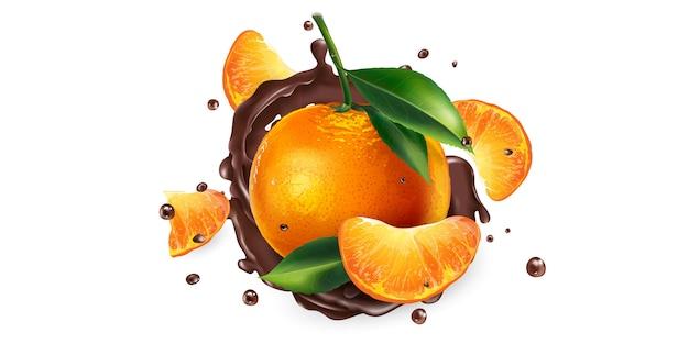 新鮮なみかんと液体チョコレートの水しぶき。