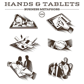 Руки и планшеты. гравированный вектор