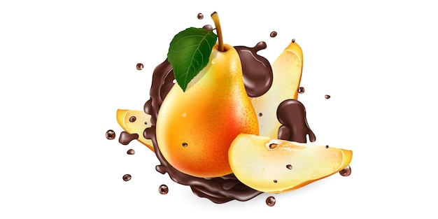 新鮮な梨と液体チョコレートの水しぶき。