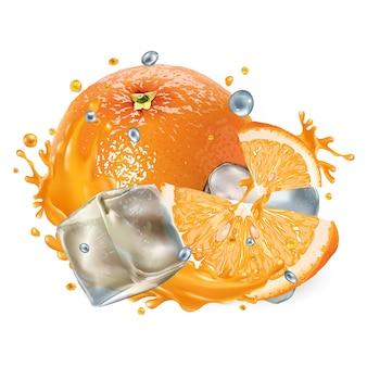 白い背景の上の新鮮なオレンジとアイスキューブのコンポジション。リアルなイラスト。