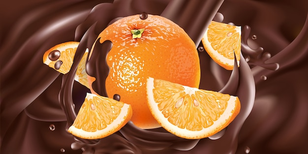 新鮮なオレンジが液体チョコレートに追加されます。リアルなイラスト。