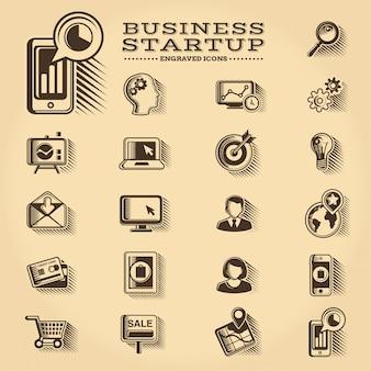 ビジネスとスタートアップの刻まれたアイコンセット