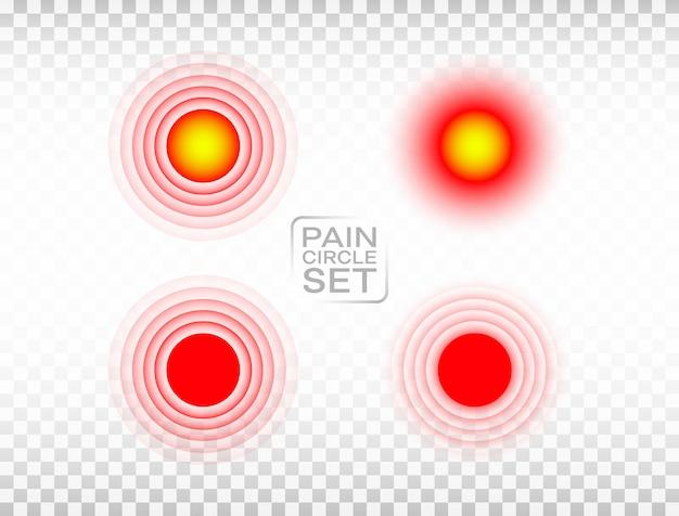 痛みの赤い丸セット。マーカーを傷つけます。