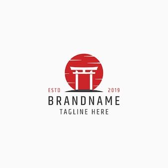 Шаблон логотипа тории японии ворота