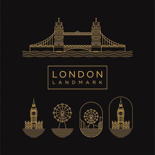 Лондонский значок ориентир золотой с стилем линии