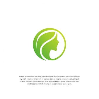 女性と葉。自然の美しさのロゴのデザインテンプレート