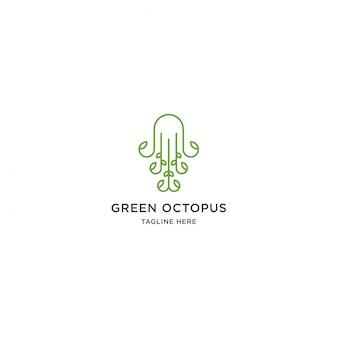 Зеленый логотип осьминога