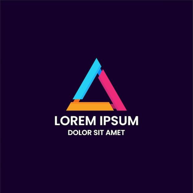 Удивительный красочный шаблон дизайна логотипа треугольника