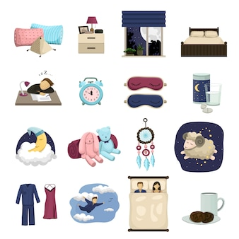 Сон мультфильм значок набор, милый сон.