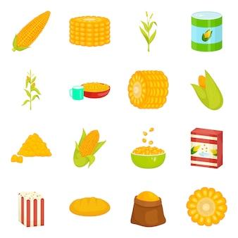 トウモロコシと食品のロゴのベクトルイラスト。トウモロコシと作物のセットのコレクション