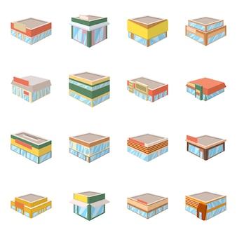 ベクトルイラストと建物のアイコン。コレクションとビジネスセット