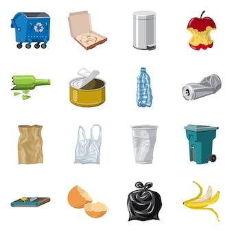 環境と廃棄物のシンボルのベクトルイラスト。環境とエコロジーのセット