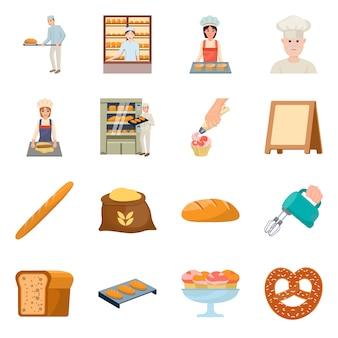 パン屋さんと自然のアイコンのベクターデザイン。ベーカリーと調理器具セットのコレクション