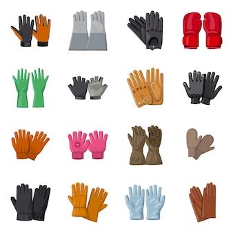 Векторный дизайн перчатки и зимние иконы. комплект символа запаса перчатки и оборудования для сети.