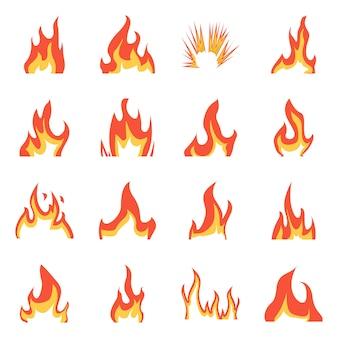 火と赤い看板のベクターイラストです。火とキャンプファイヤーセット