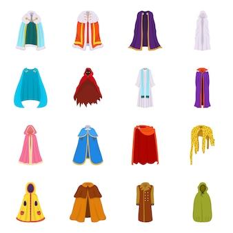 マントと服のサインのベクトルイラスト。マントのコレクションと衣服セット