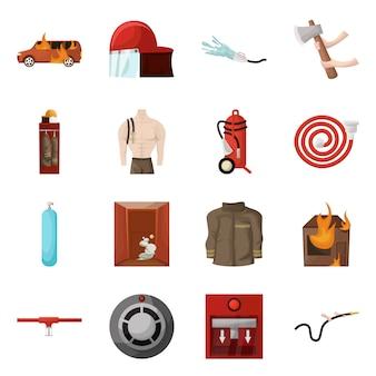 消防士と火のシンボルのベクターデザイン。消防士および機器セットのコレクション