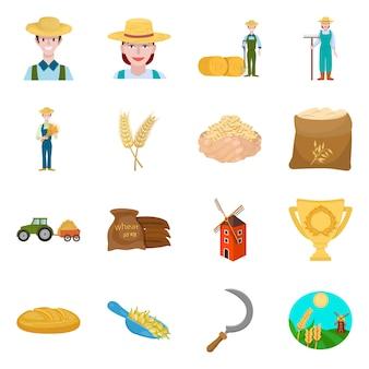 ファームと耕作可能なアイコンのベクターデザイン。農場と小麦のセット