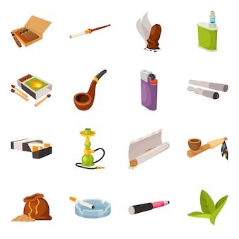 Векторная иллюстрация табака и привычки символа. коллекция табака и курительный набор