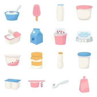乳製品と新鮮なアイコンの孤立したオブジェクト。乳製品および食品セットのコレクション