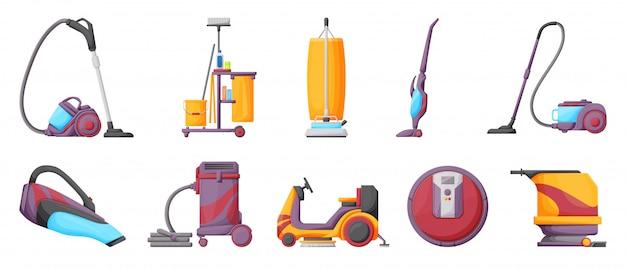 掃除機漫画のベクトル図掃除用アイコン掃除機を設定します。カーペットを掃除するための漫画ベクトルアイコンフーバー。