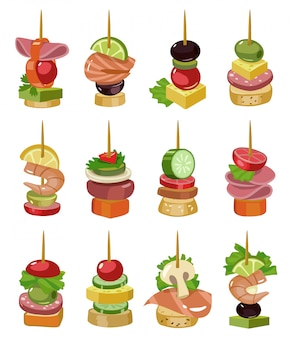 前菜漫画のベクトル図のカナッペ。ビュッフェのカナッペは、アイコンを設定します。ベクトルイラスト冷たい食べ物。アイコンの冷たい前菜を設定します。