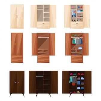 Деревянный шкаф изолированные мультфильм значок. векторная иллюстрация комната мебель гардероба. векторный мультфильм установить значок комнаты шкаф.