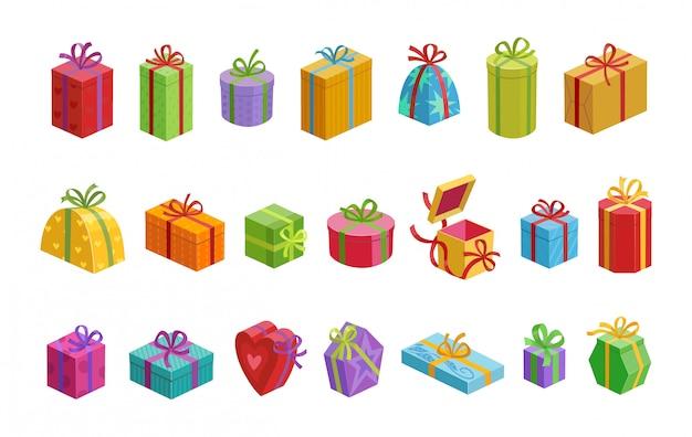 Иллюстрация вектора шаржа подарочной коробки. подарочная коробка с значком шаржа ленты установленным. изолированная подарочная коробка значка на день рождения.