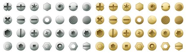 ファスナーベクトル漫画の頭は、アイコンを設定します。ボルトの分離アイコン頭ファスナー。ネジのベクトル図金属リベット。