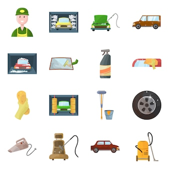 孤立したオブジェクトの洗車とケアのアイコン。コレクションの洗車とサービスのストックシンボル。
