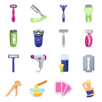 Бритва мультяшный элементы. бритва для женщин ноги набор элементов. иллюстрация бритвы и бритвы для женщин.