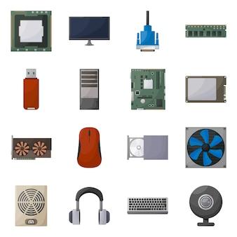 孤立したオブジェクトコンピューターとハードウェアのアイコン。コンピューターとコンポーネントの在庫を設定します。
