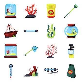 Векторный дизайн животное и аква символ. набор питомца и аксессуаров