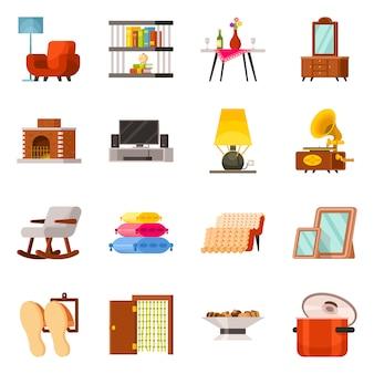 ベクターデザインの家具とインテリアアイコン。コレクションの家具とアクセサリーのストックシンボル。