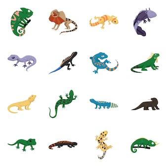 動物と爬虫類。コレクションの動物と自然のストックシンボル。