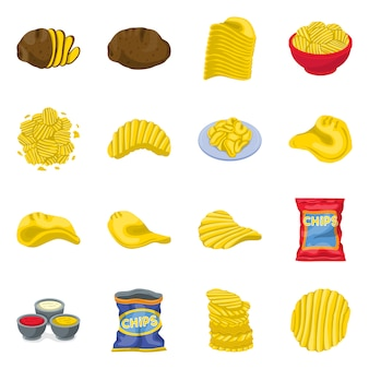 チップポテトベクトル漫画アイコンセット。分離されたベクトルイラストチップ食品。チップとスナックのアイコンを設定します。