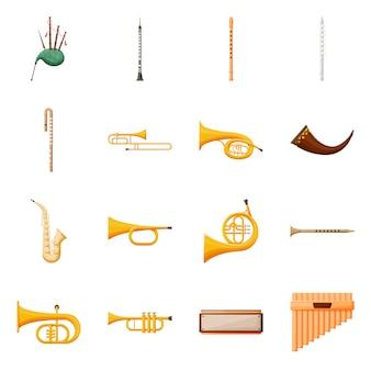 楽器ベクトル漫画アイコンセット。ベクトル分離図バグパイプ、クラリネット、フルート。楽器のアイコンを設定します。