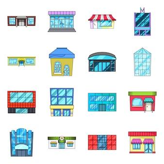 スーパーマーケットの建物ベクトル漫画アイコンを設定します。ショッピングのためのベクトル分離図スーパーマーケット。