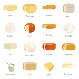 食品および乳製品のシンボルのベクターデザイン。食べ物とチーズのベクトルのアイコンのセット