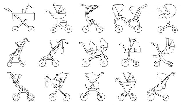ベビーカーラインセットアイコン。新生児の分離ラインアイコンベビーカーのイラスト。イラスト赤ちゃん乳母車。